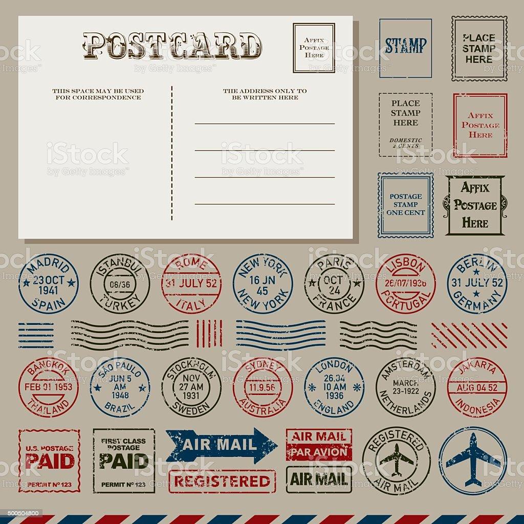 Vintage Postcards and Postmark Stamps Set vector art illustration