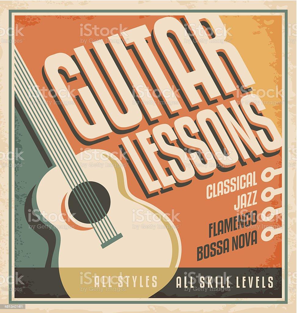 Vintage poster design for guitar lessons vector art illustration