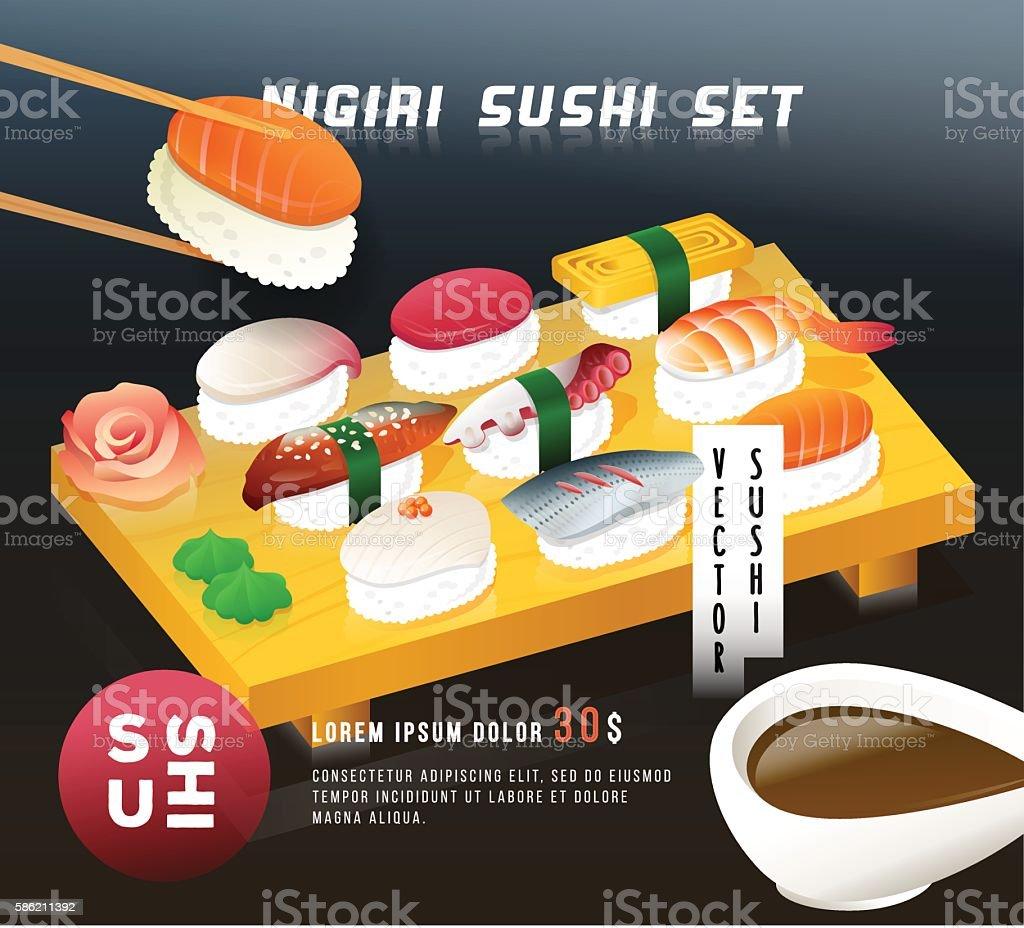 Vintage poster design. Vector illustration of a nigiri sushi set vector art illustration