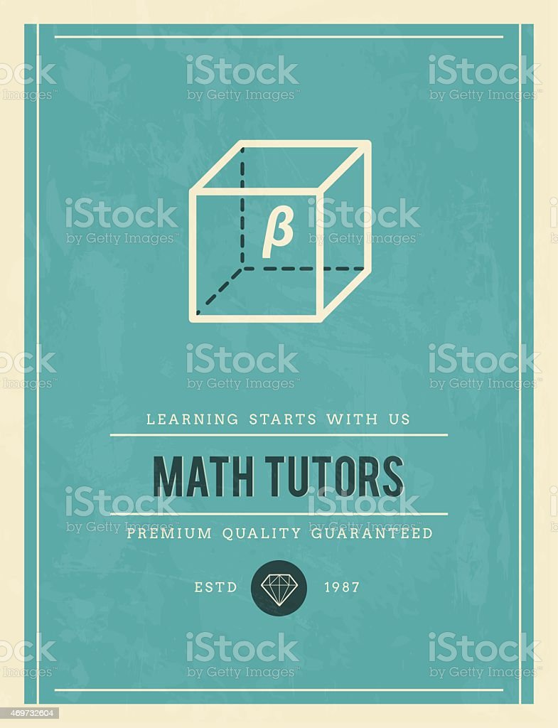 vintage poster for math tutors vector art illustration