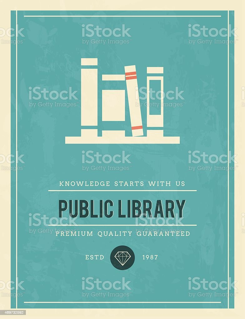 vintage poster for public library vector art illustration