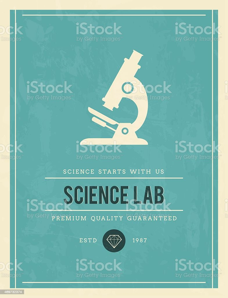 vintage poster for science lab vector art illustration