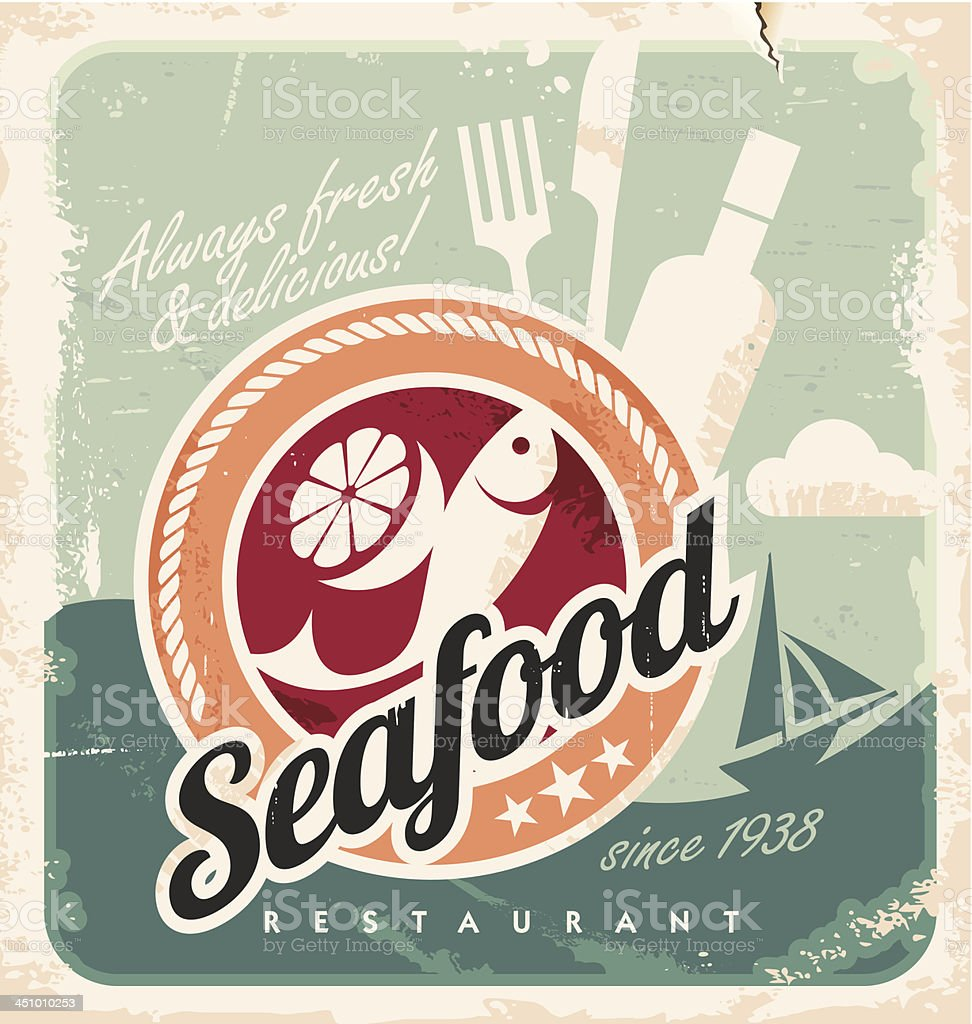 Vintage poster for seafood restaurant vector art illustration