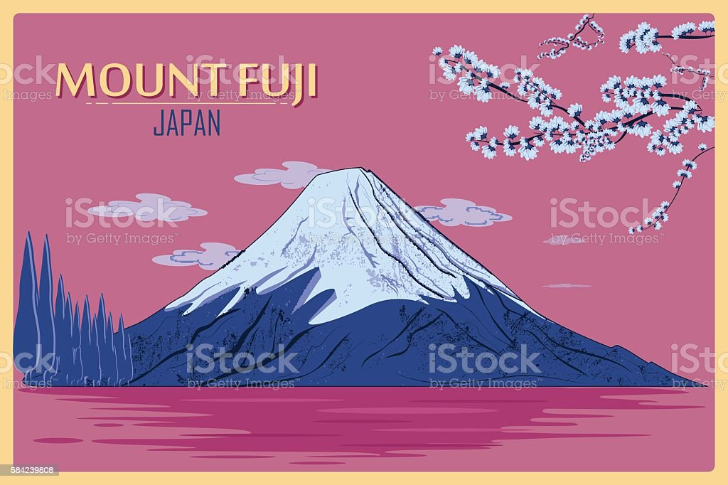 Vintage poster of Mount Fuji in Tokyo, Japan vector art illustration