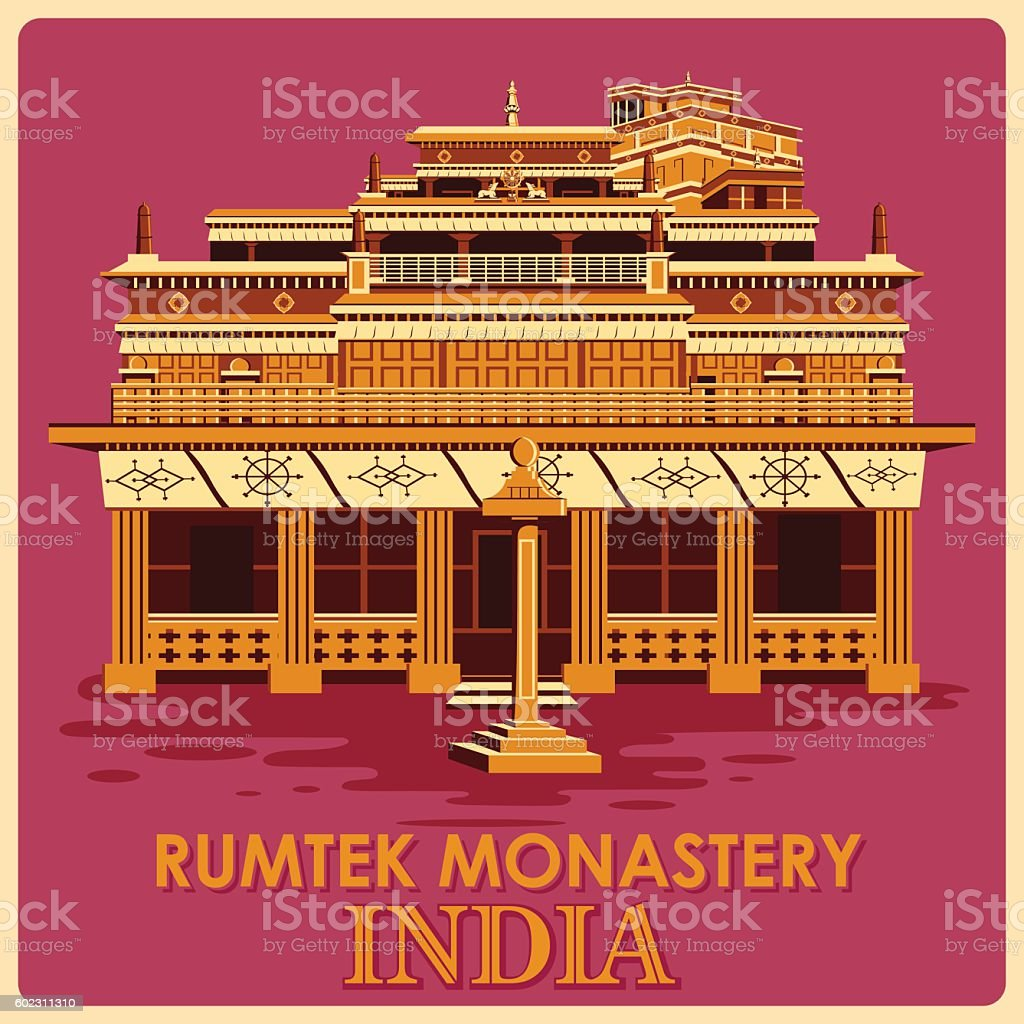 Vintage poster of Rumtek Monastery in Sikkim famous monument  India vector art illustration