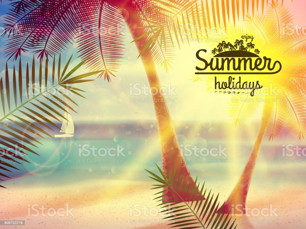 Vintage poster of tropical beach. royalty-free stock vector art