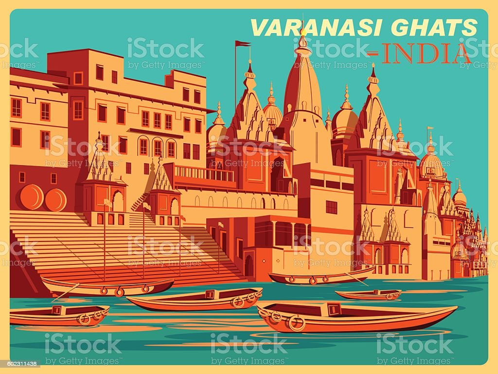 Vintage poster of Varanasi Ghats  Uttar Pradesh famous place in vector art illustration