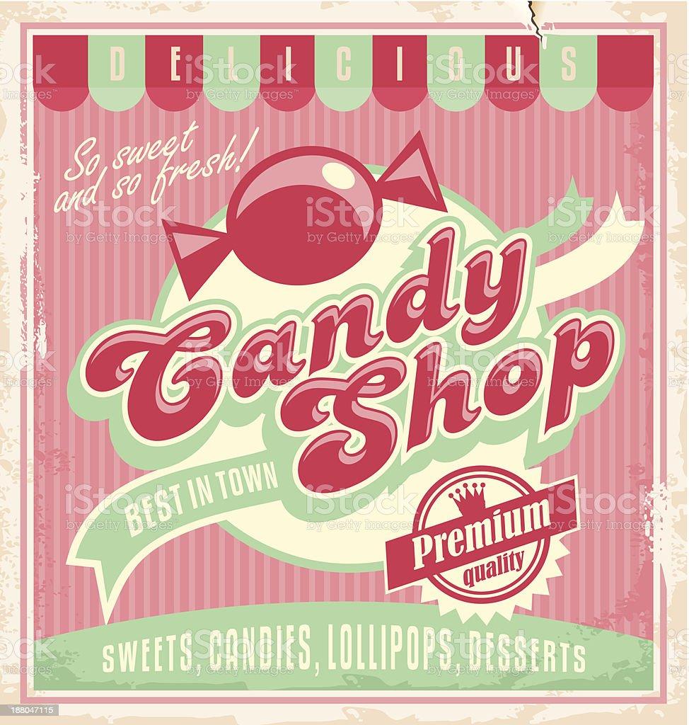 Vintage poster template for candy shop vector art illustration