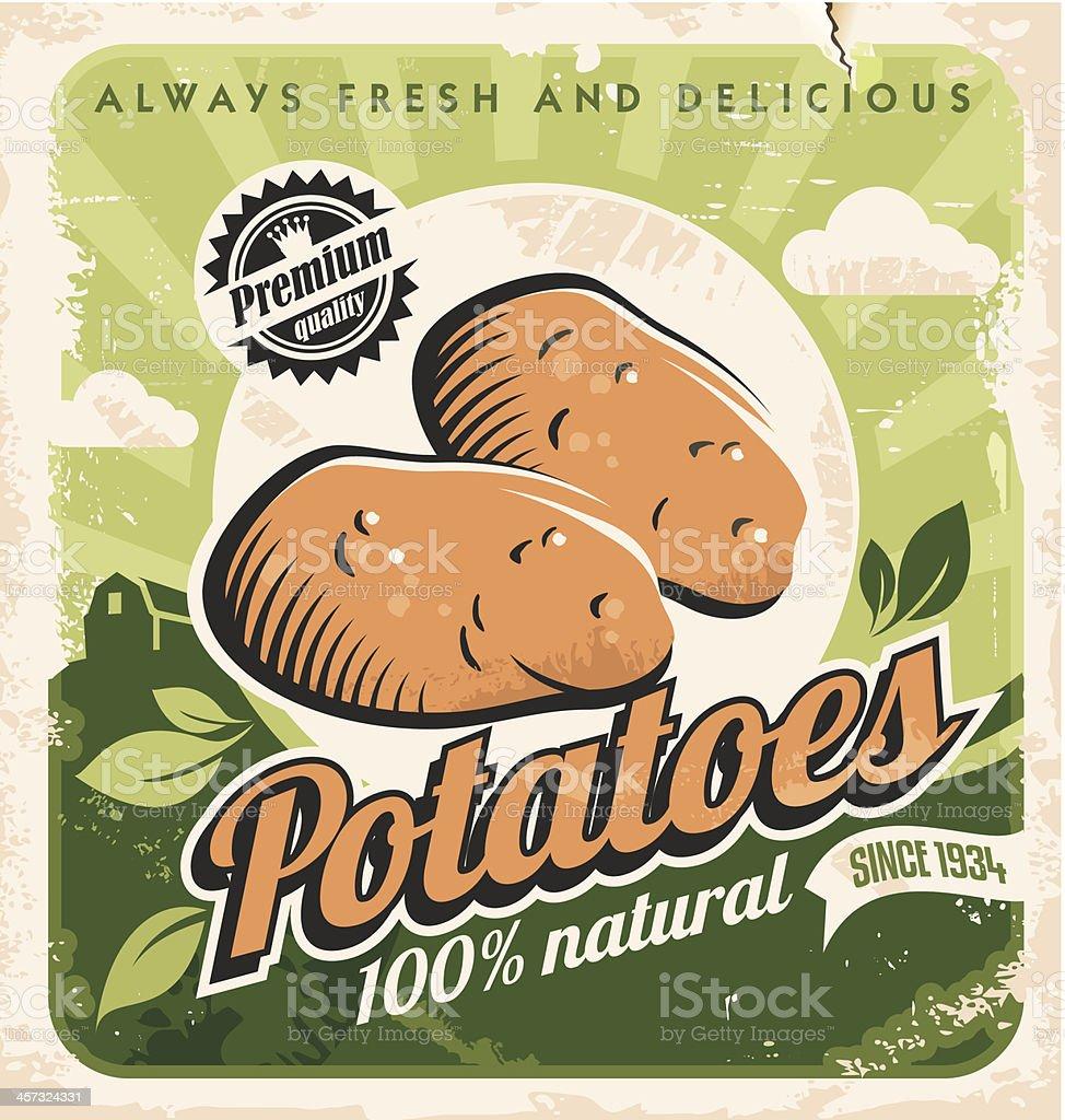 Vintage poster template for potato farm. vector art illustration