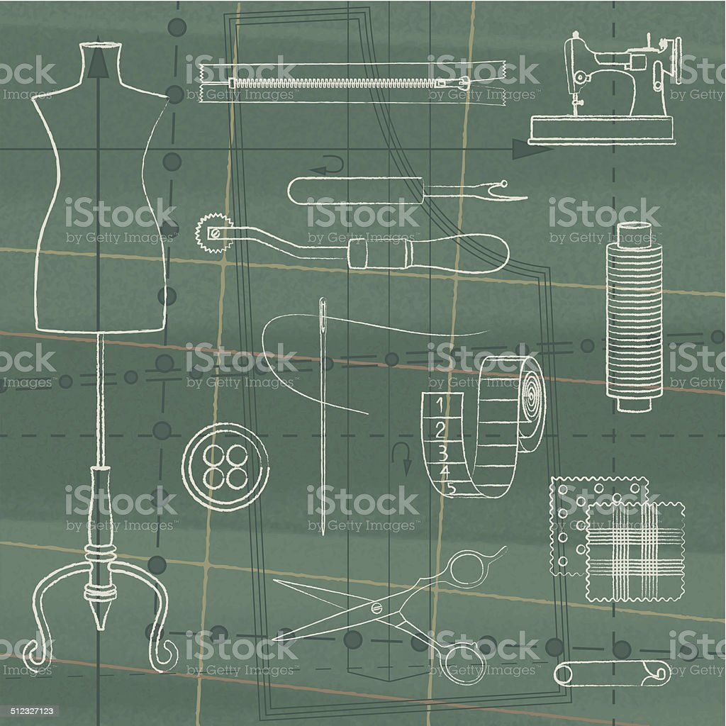 Vintage poster with tailoring elements 3 vector art illustration
