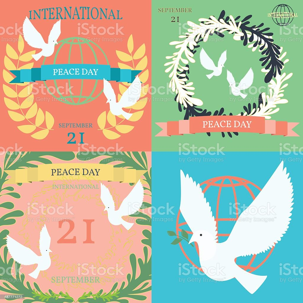 Vintage posters for the International Day of Peace vector art illustration