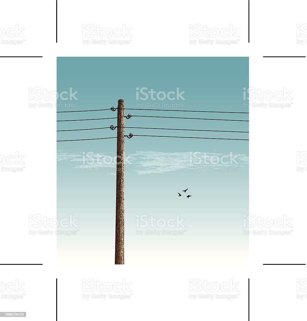 vintage power pole and birds royalty-free stock vector art