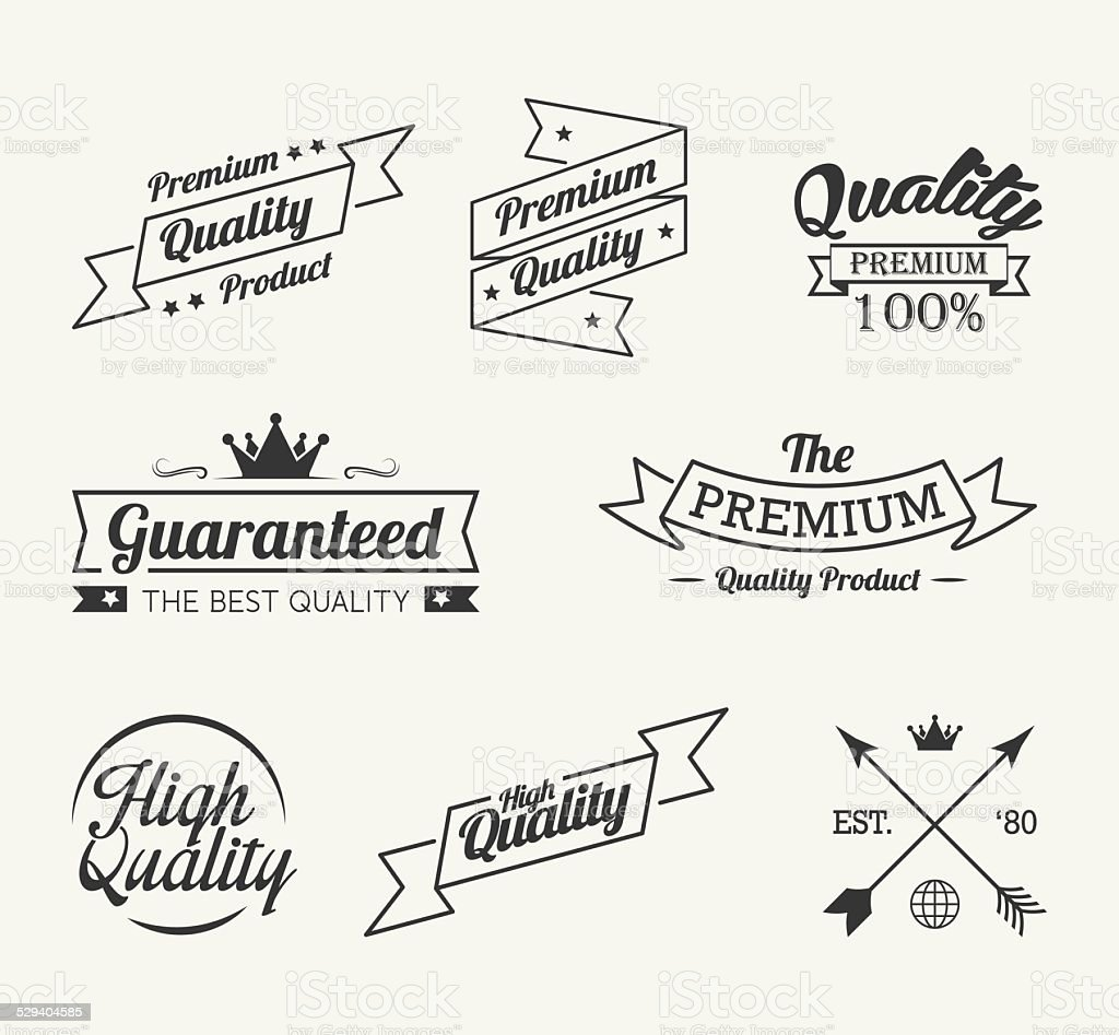 Vintage premium quality label vector set vector art illustration