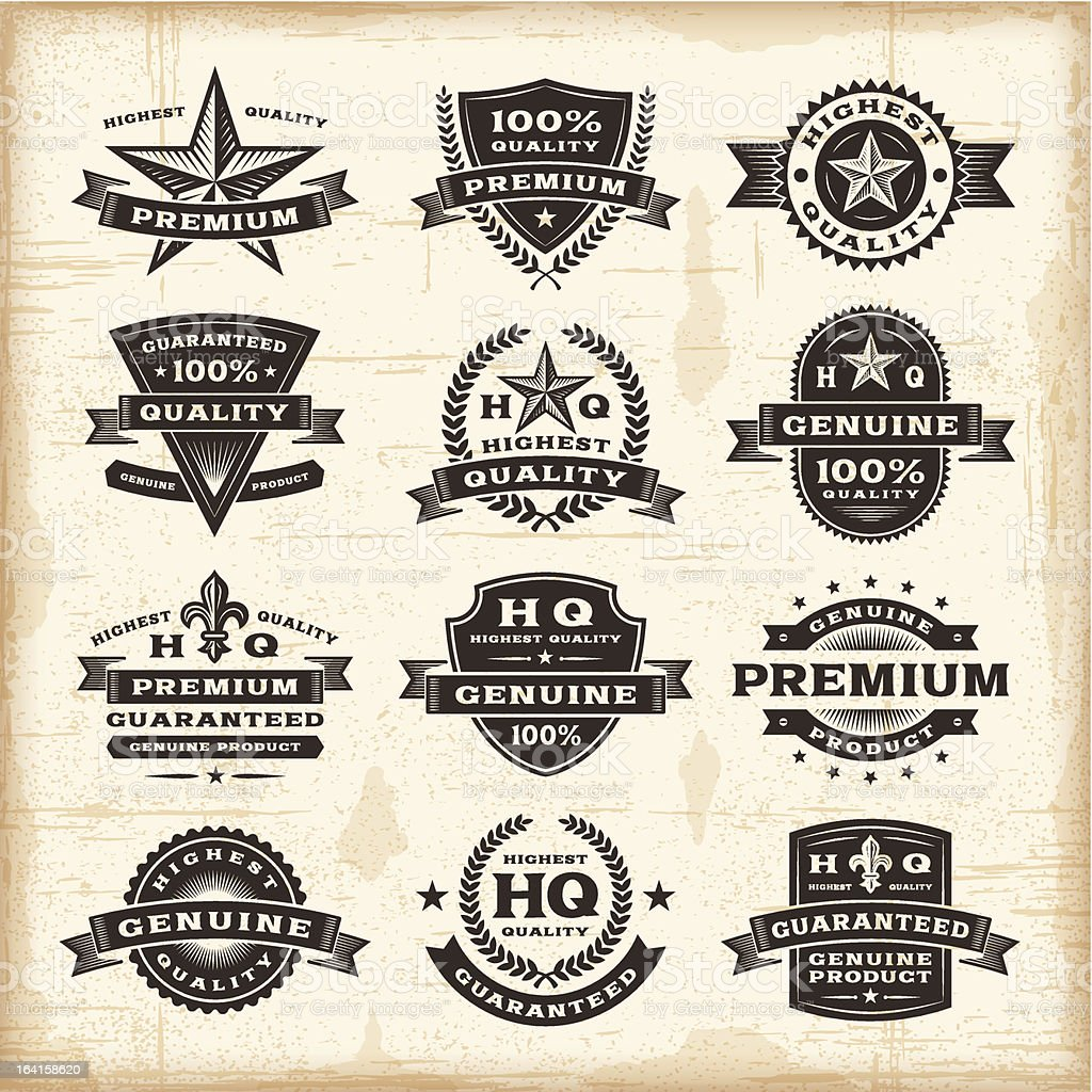 Vintage premium quality labels set royalty-free stock vector art