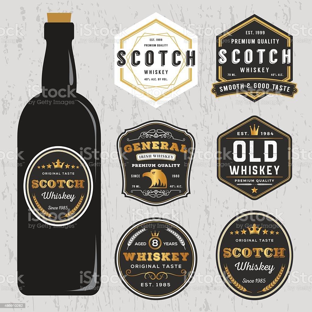 Vintage Premium Whiskey Brands Label Design Template vector art illustration