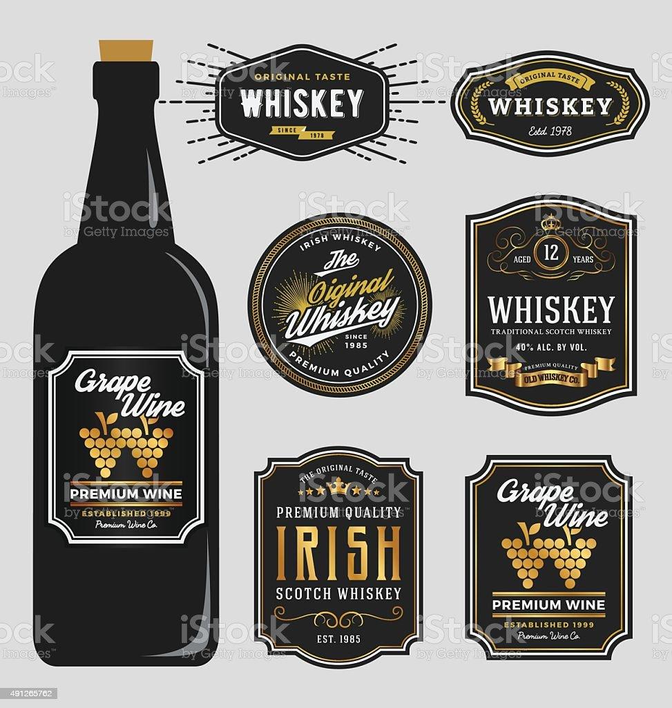 Vintage Premium Whiskey Brands Label Design Template, vector art illustration