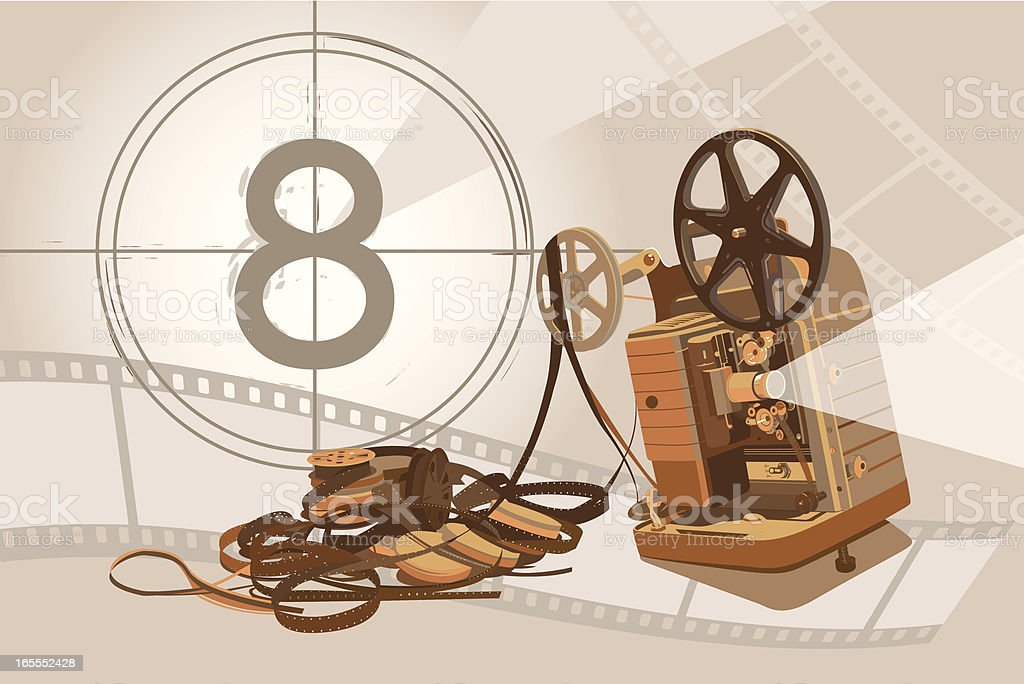 Vintage Projector and Film with Background royalty-free stock vector art