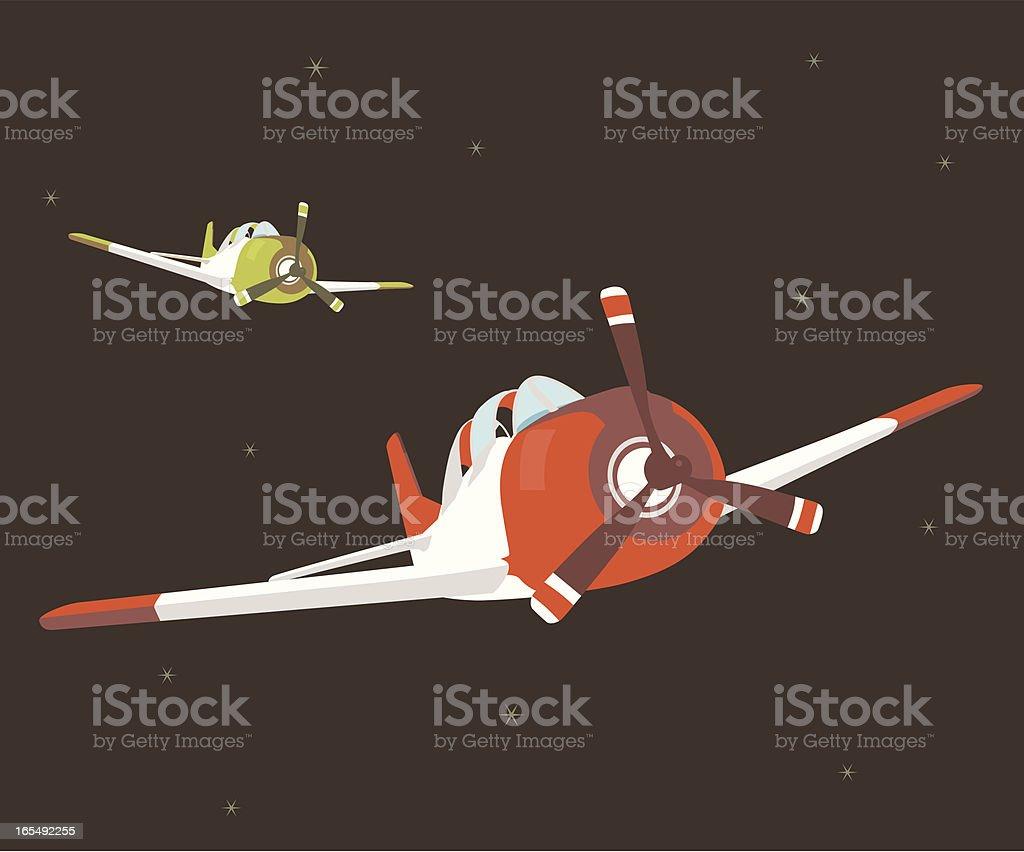 vintage propeller jets royalty-free stock vector art
