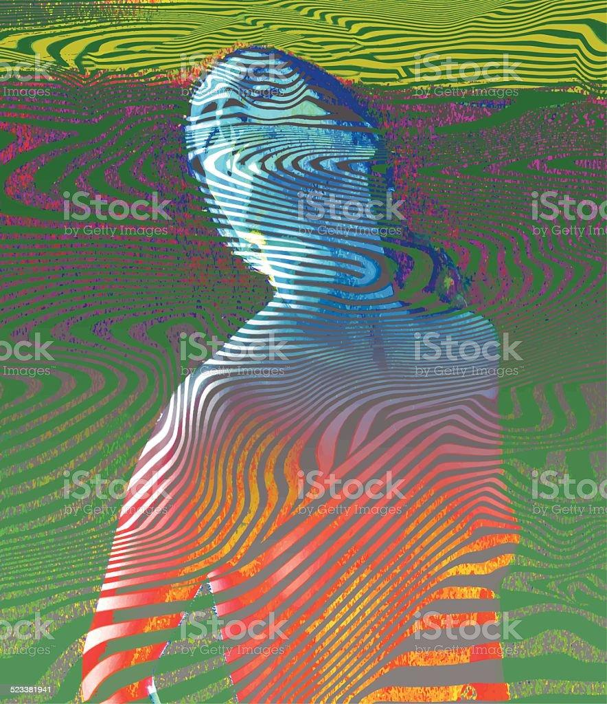 Vintage Psychedelic Woman vector art illustration