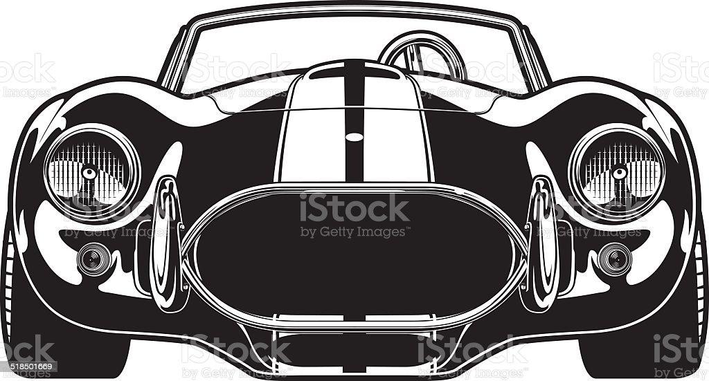 Vintage Race car vector art illustration
