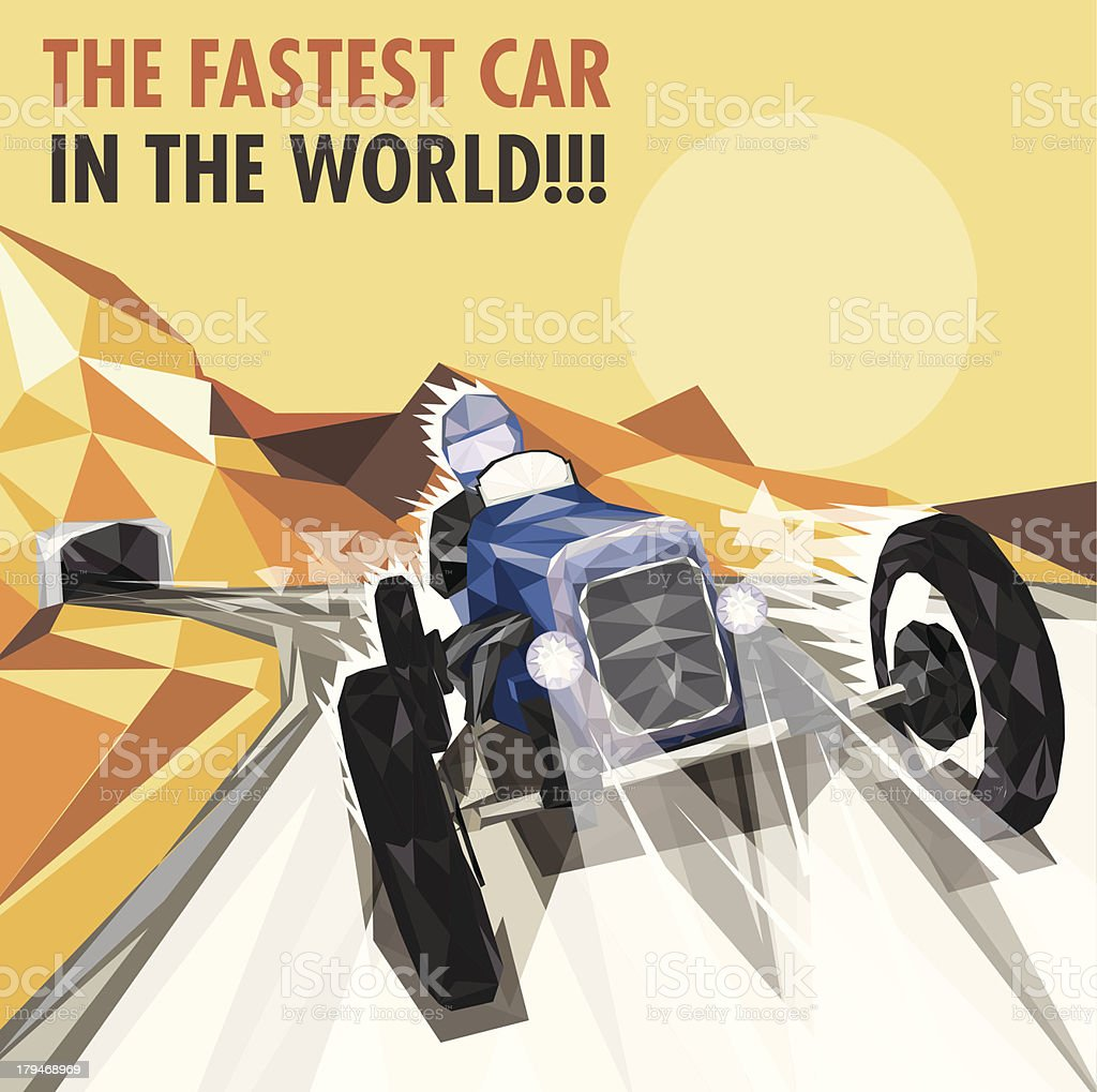 Vintage Racing Car Poster royalty-free stock vector art