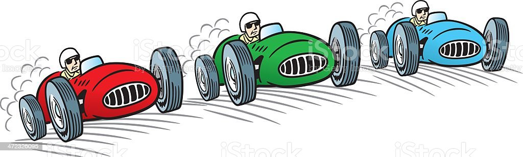 Vintage Racing Cars royalty-free stock vector art