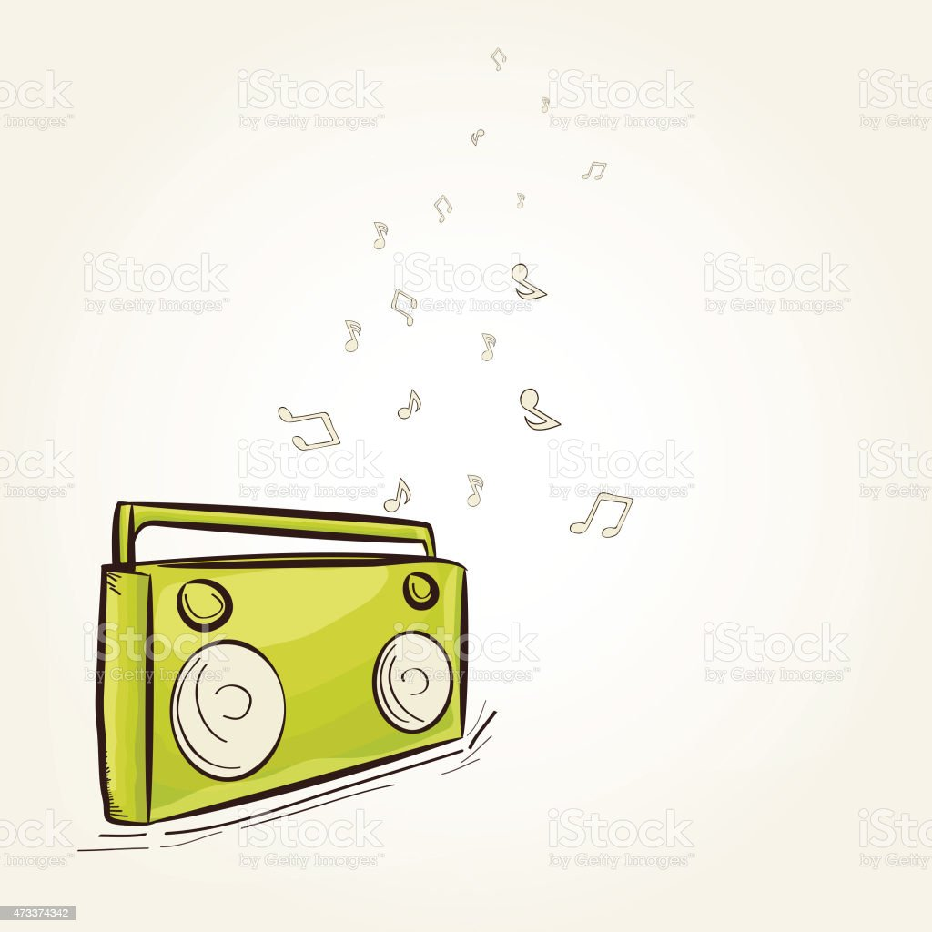 Vintage radio with musical notes. vector art illustration