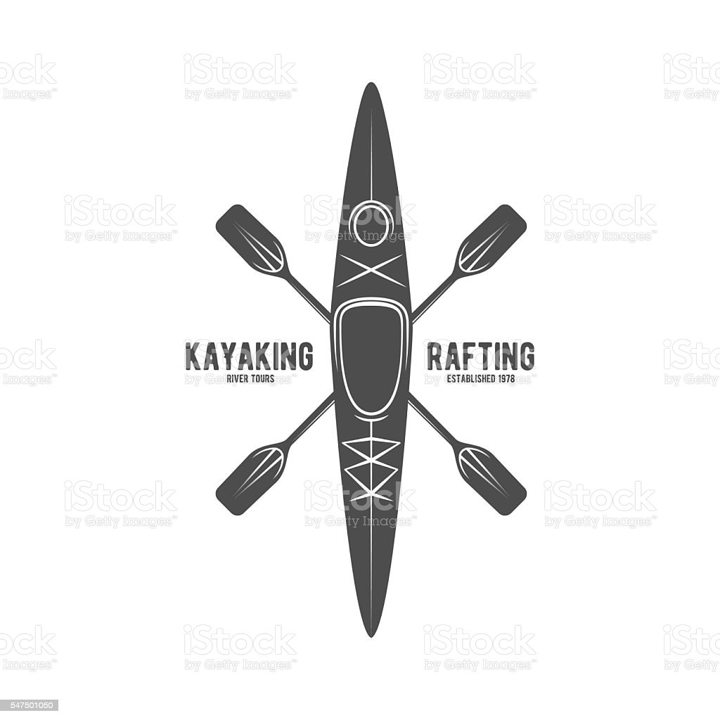 vintage rafting label badge or logotype vector art illustration