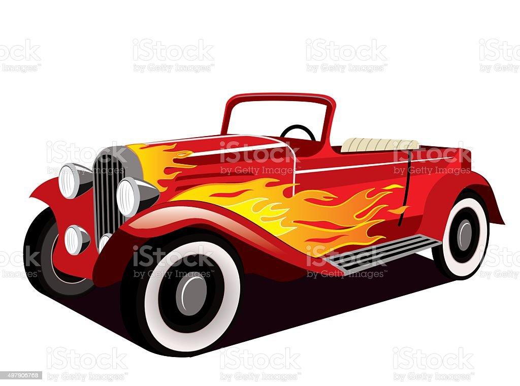 Vintage Red Hotrod vector art illustration