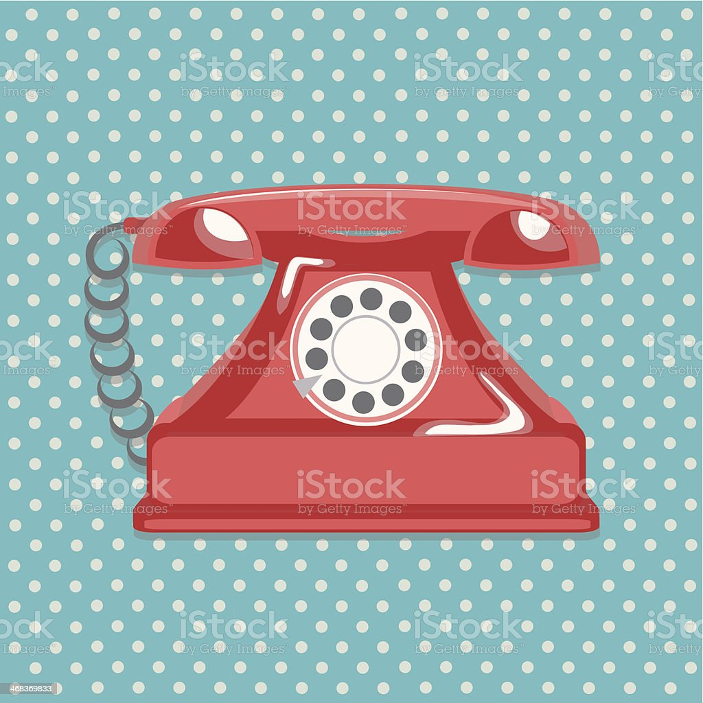 Vintage red telephone and dotted background royalty-free stock vector art