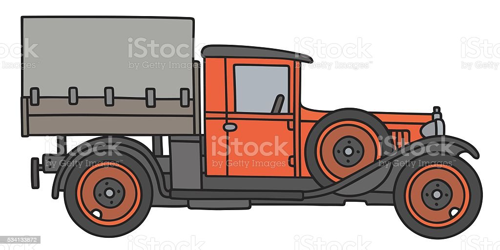 Vintage red truck vector art illustration
