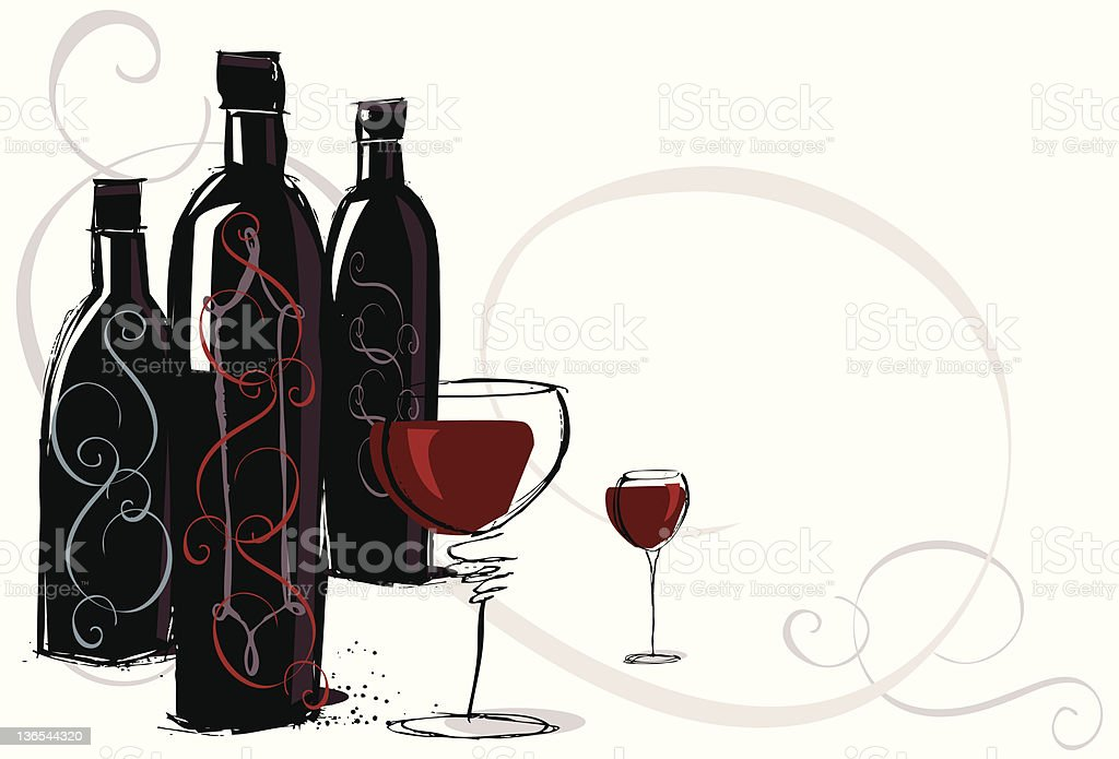 Vintage red wine vector art illustration