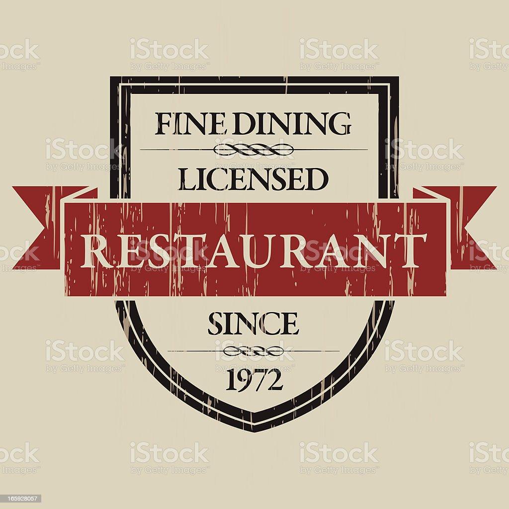 Vintage Restaurant Label vector art illustration