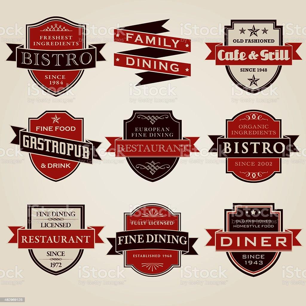 Vintage Restaurant Labels Icon Set royalty-free stock vector art