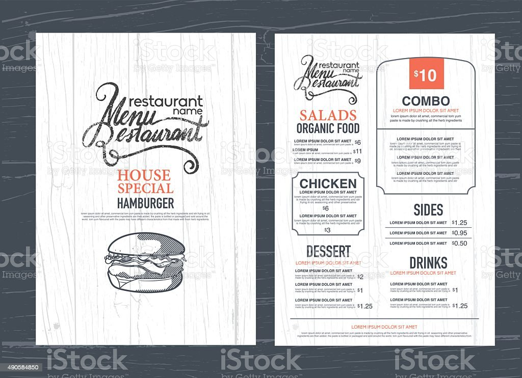 vintage restaurant menu design and wood texture background.. vector art illustration