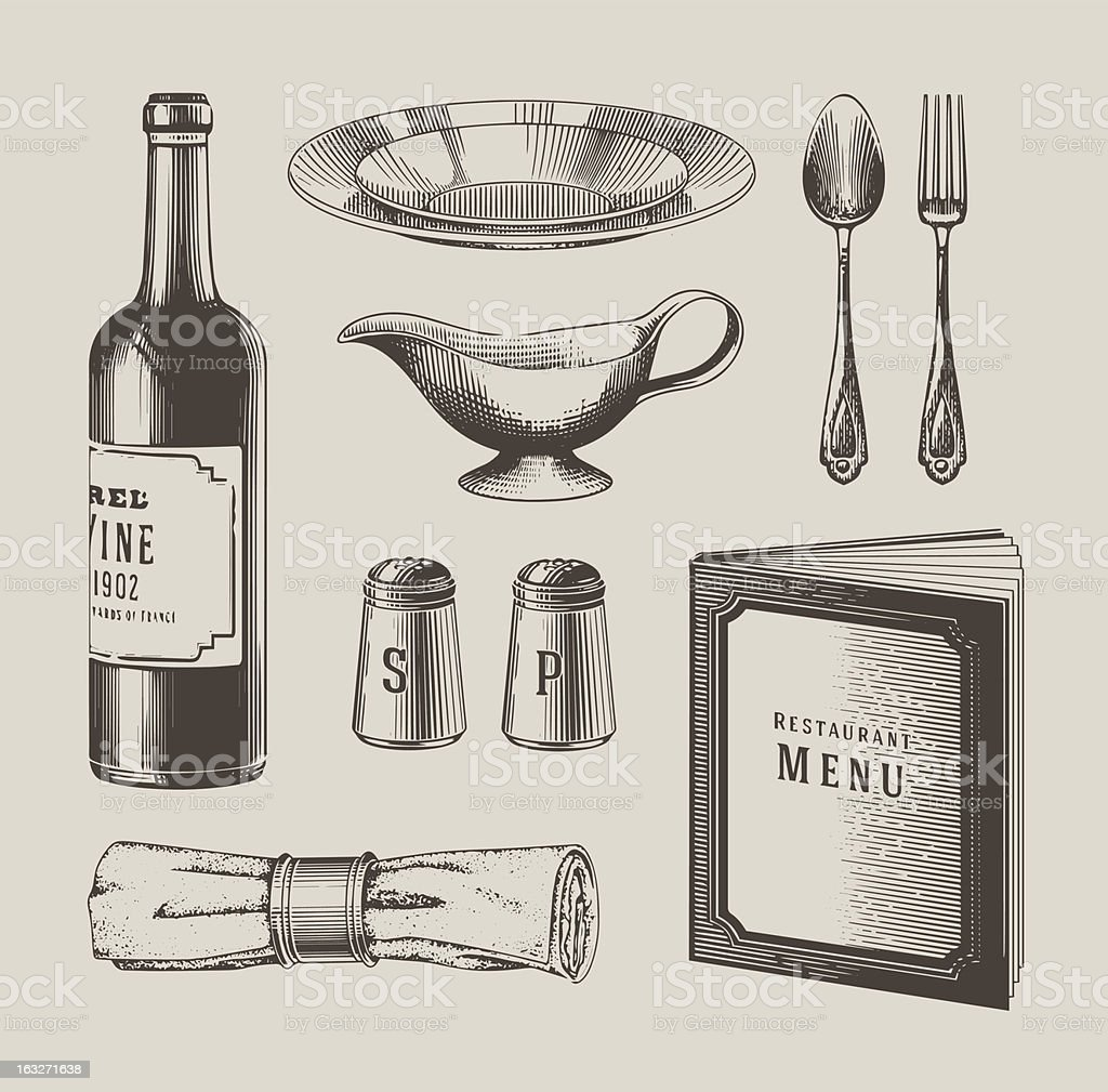 Vintage restaurant objects royalty-free stock vector art