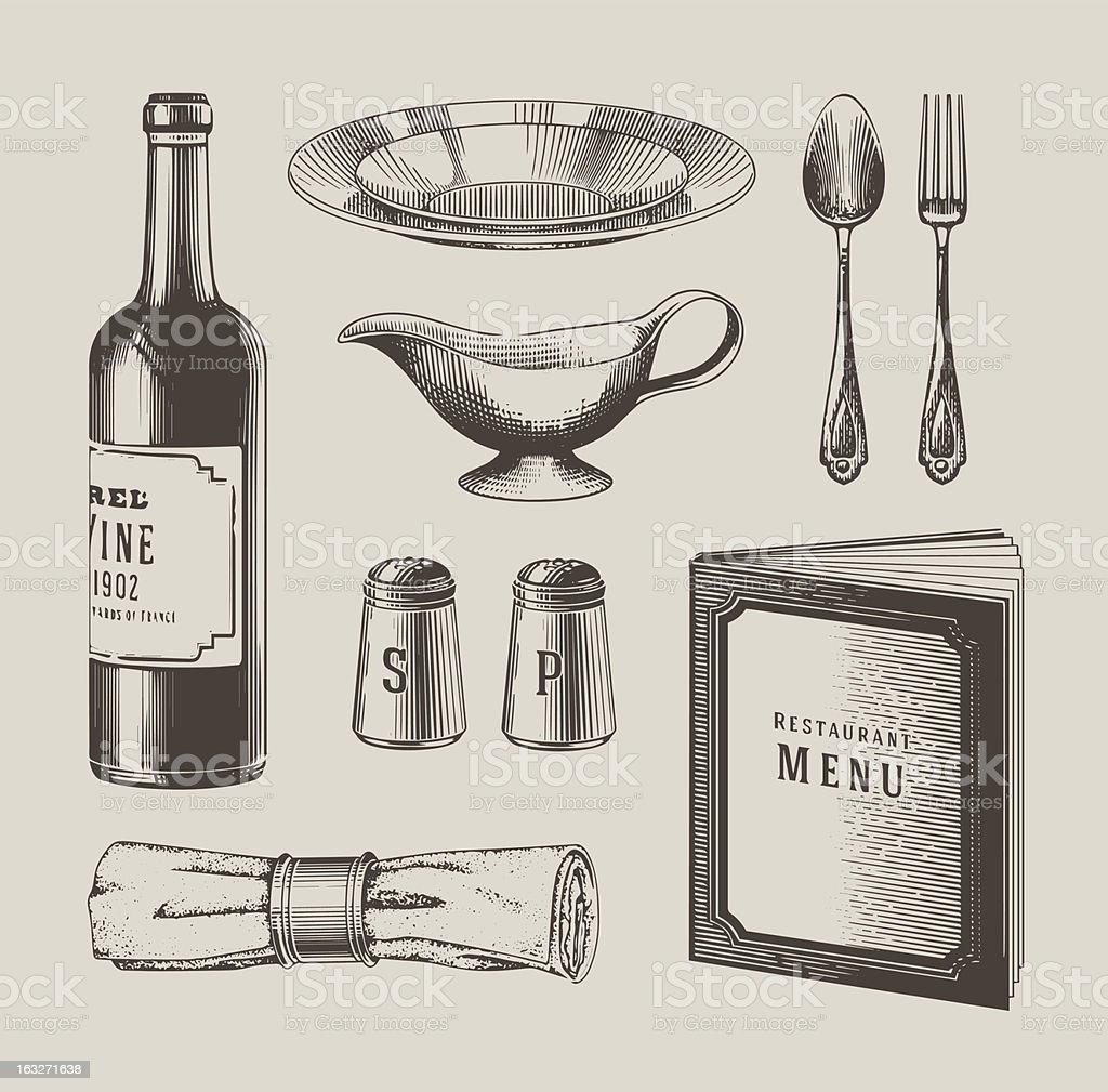 Vintage restaurant objects vector art illustration