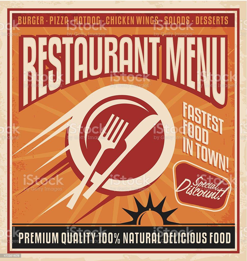 Vintage restaurant poster design royalty-free stock vector art