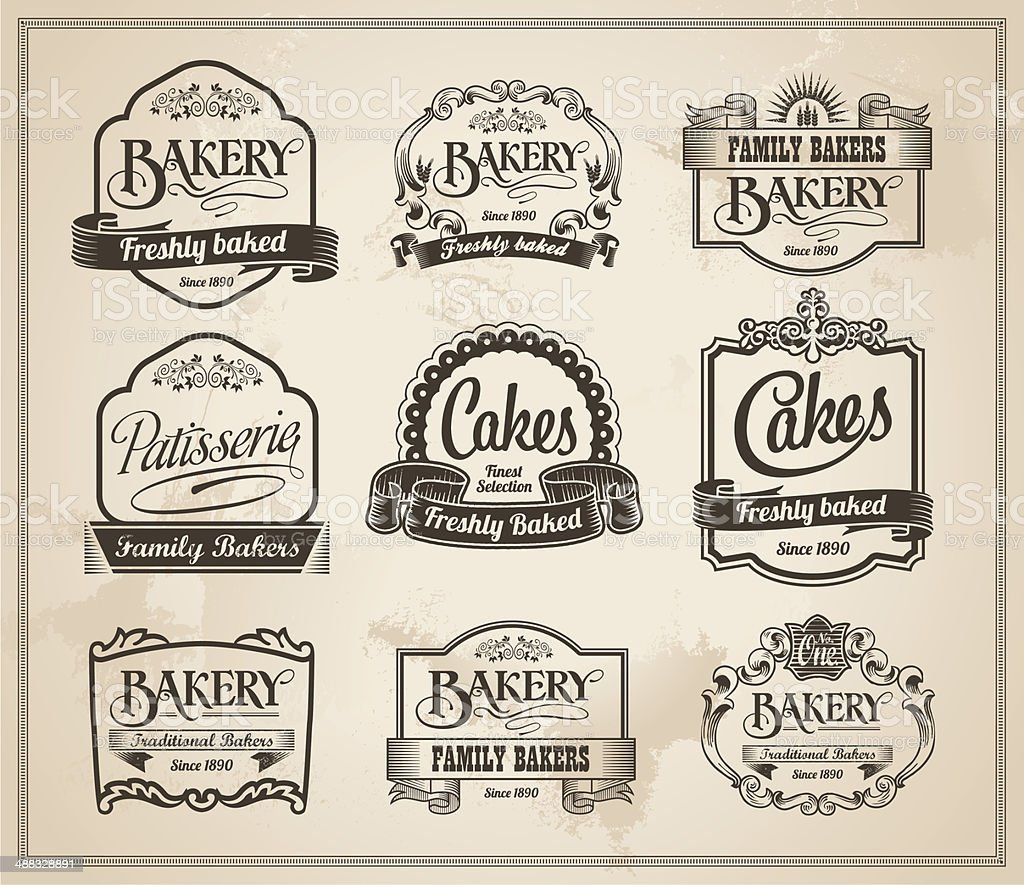 Vintage Retro Bakery Label Banner Set vector art illustration