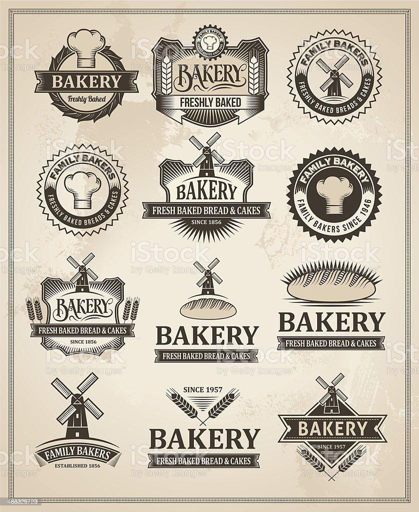 Vintage Retro Bakery Label Set vector art illustration
