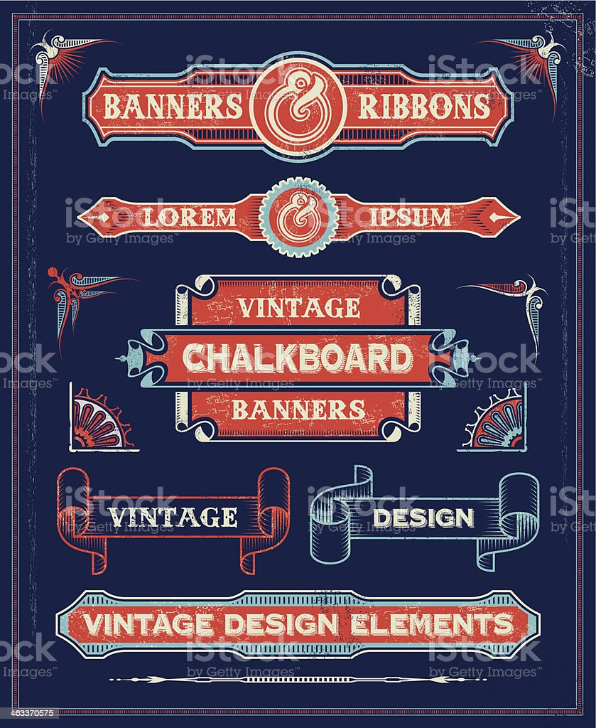 Vintage retro banners and labels royalty-free stock vector art