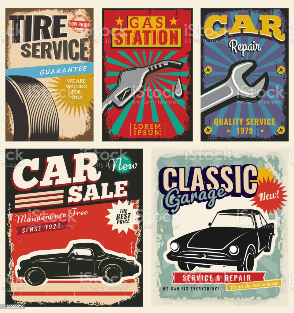 Vintage Retro Car vector art illustration