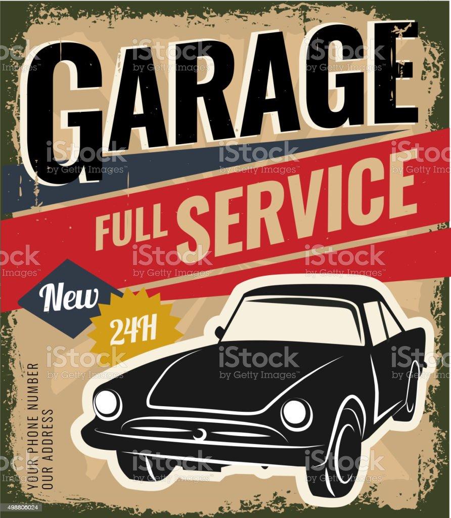 Vintage Retro Car vector art illustration