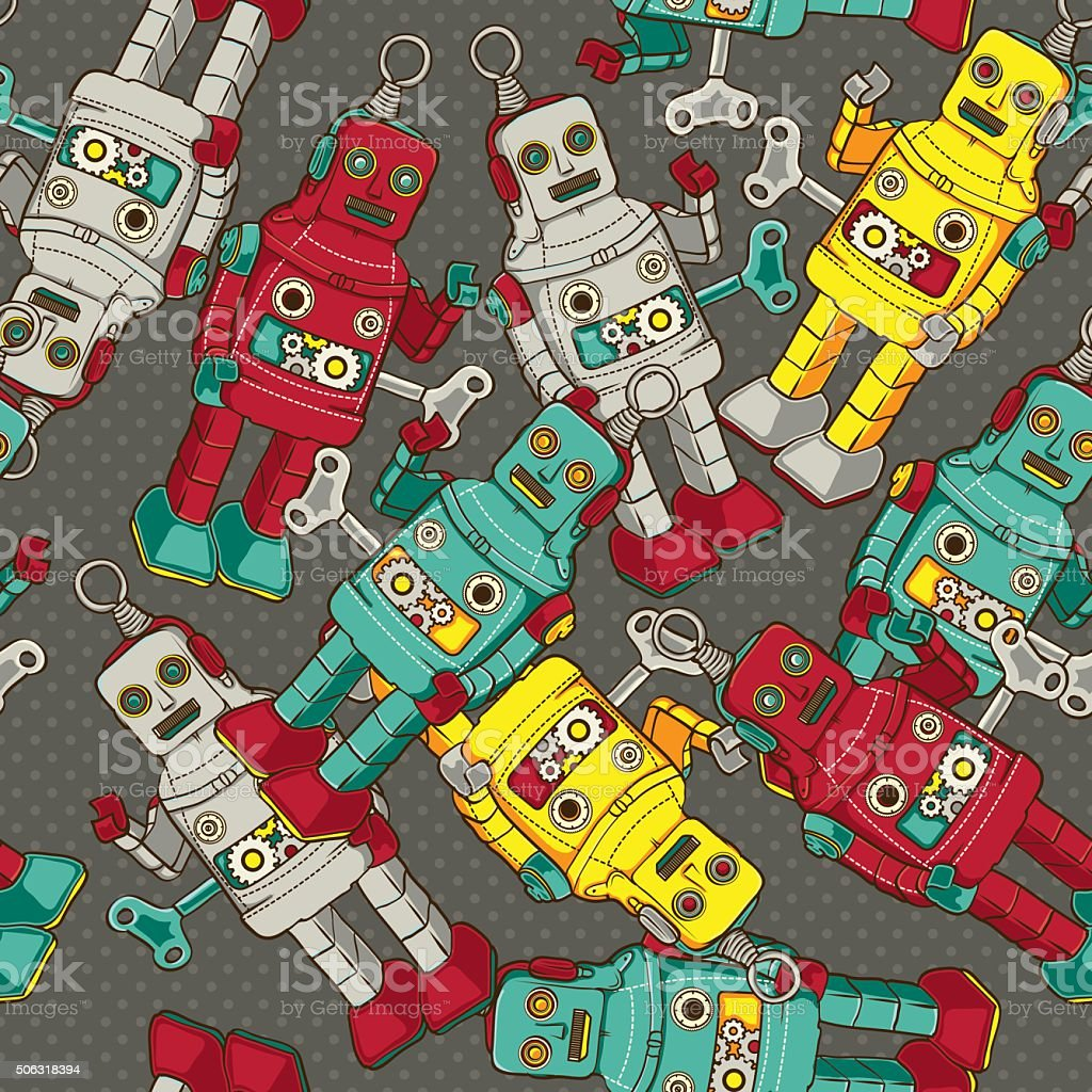 Vintage / Retro colorful Robot seamless pattern, vector illustration vector art illustration
