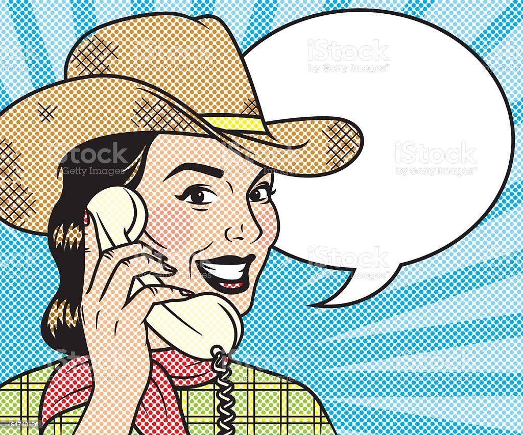 Vintage Retro Woman On The Phone Line Art Icon vector art illustration