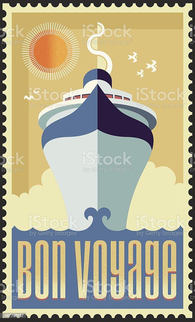 Vintage Retro Cruise Ship Vector Design vector art illustration