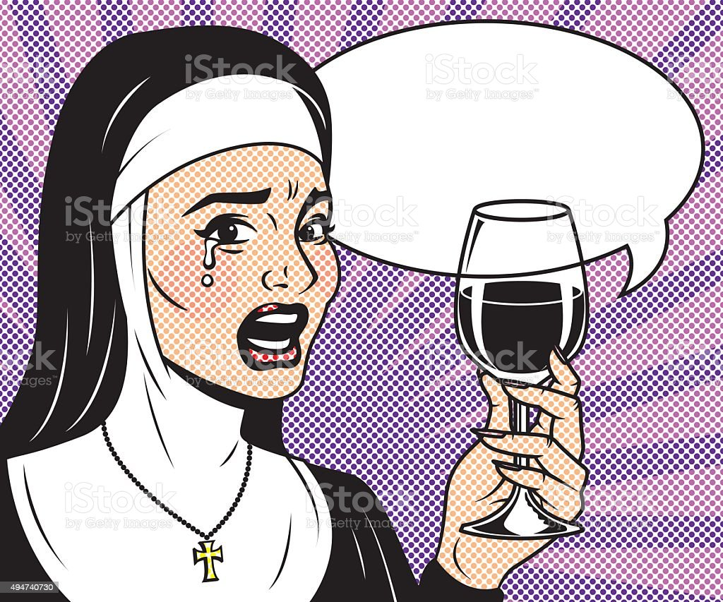 Vintage Retro Crying Woman Drinking Wine Line Art Icon vector art illustration