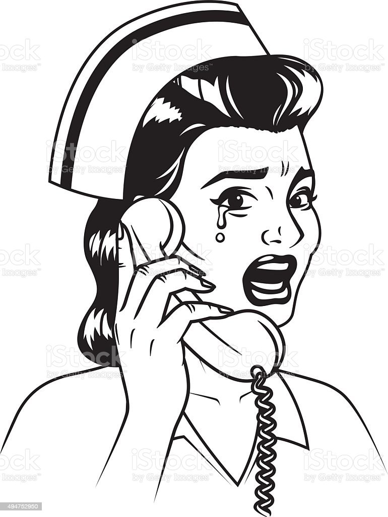Line Art Icon : Vintage retro crying nurse on the phone line art icon