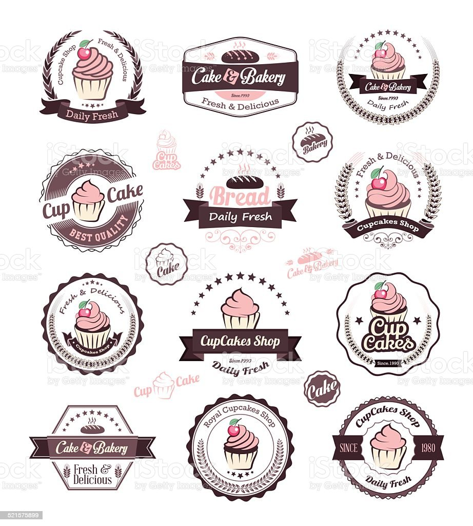 Vintage retro cupcakes bakery badges and labels vector art illustration