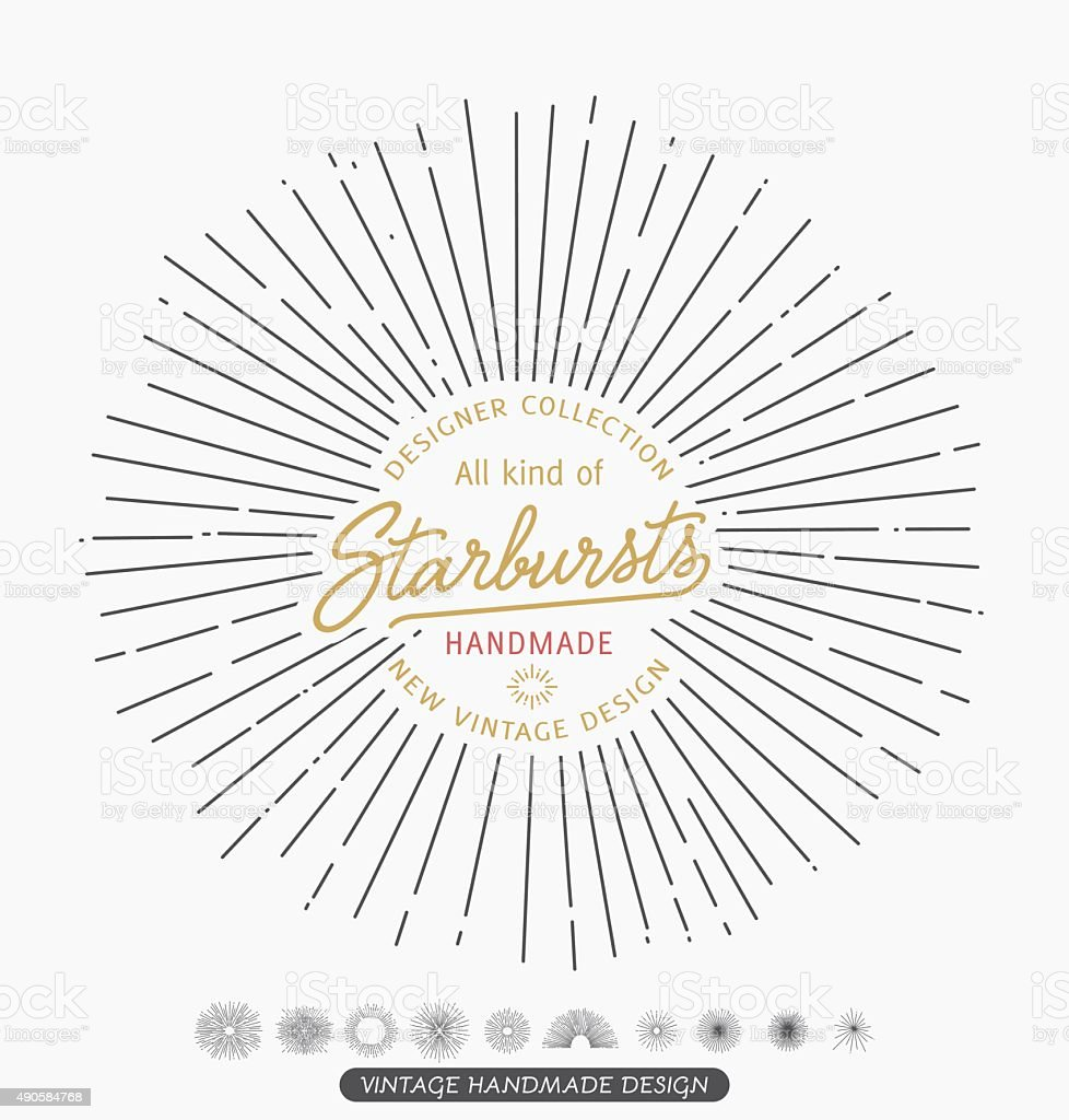 Vintage, Retro hipster style vector monochrome starbursts vector art illustration